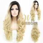 "20""-28"" Long Curly Black Roots with Light Golden Blonde Lace Front Synthetic Wig"