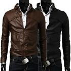 New Men's Stand Collar Slim Fit PU Leather Short Coat Jacket Black Brown US FAST