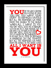 U2 All I Want Is You typography poster song  lyric wall art canvas and prints.