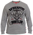 D555 Mens Grey Sweatshirt Jumper Sweater Crew Neck Long Sleeve Size M L XL XXL