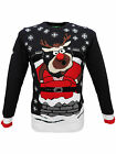 Christmas Xmas Santa Stuck down the Chimney 3D Jumper in Navy Blue