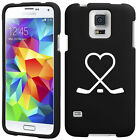 For Samsung S3 S4 S5 Active Rubber Hard Case Cover Hockey Sticks Heart Love