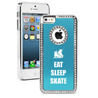 For iPhone 4 4s 5 5s 5c 6 6s Plus Rhinestone Bling Case Eat Sleep Ice Skate