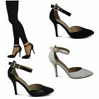 womens ladies new ankle strap stiletto pointed party prom gold buckle shoes size