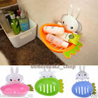 Bathroom Toilet Wall Suction Soap Tray Dish Rabbit Holder Plate Storage Box Case