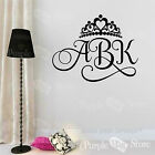 Monogram Initial Crown Princess Personalized Custom Vinyl Wall Decal Sticker