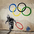 "Banksy-Olympic Rings -24""x24"" Canvas Print Urban Graffiti"