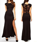 Fashion Womens Casual Black Lace Slits Dress Club Party Cocktail Evening Dress