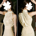 New Stylish Women Lace Halter Long Cocktail Evening Romper Jumpsuit Nude