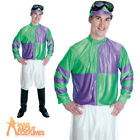 Adult Jockey Costume Green Purple Mens Horse Racing Fancy Dress Outfit New