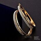Women Yellow Gold Silver Sparkle Big Round Hoop Earrings CAGM161D6