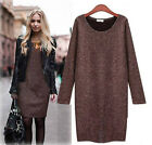 New Fashion Womens Winter Dress Pure Color Casual Dress Long Sleeve Autumn Dress