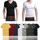 Trendy T-Shirt Sexy Men's V-Neck Tee Short Sleeve Slim Fit Solid 8 Color UK FO