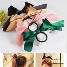 New Arrival  Scrunchie Ponytail Holder Satin Ribbon Bow Hair Band Hair Rope UKFO
