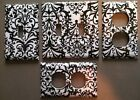 black and white items - BLACK AND WHITE DAMASK LIGHT SWITCH COVER PLATE BLACK DAMASK ON WHITE GREAT ITEM