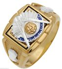 Men's 10k or 14k White or Yellow Gold Masonic Past Master Solid Back Ring