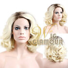 "Long Curly 10""-16"" Dark Brown Roots with Blonde Lace Front Synthetic Wig Heat OK"