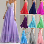 Chiffon Long Halter Prom Cocktail Party Evening Dress Bridesmaid Dress Size:6-16