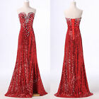 FREE SHIP XMAS Red Sequins Prom Gown Party Long Bridal Bridesmaid WEDDING Dress