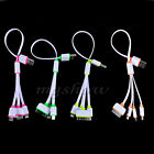 4in1 USB Sync Data Multi Charger Adapter Noodle Flat Cable For Mobile Phone MP3