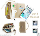 Gold Zip Purse Leather Case Cover For Apple iPhone 4S 4+2Film