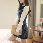 New Autumn Spring Korean Women's O-Neck Chiffon Bubble Sleeve Grid Mini Dress