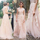 New Vintage Lace Wedding Dresses 2018 Cap Sleeve Bridal Gowns Custom Size