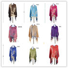 In 10 Color Women Retro Cotton Flower Leaf Large Tassel Scarves Wrap Shawl Stole