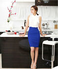 Hot sale Womens Fitted  Knee Long Slim High Waist Office Pencil Skirt 055 UK FO