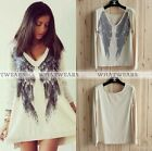 New Fashion Womens Loose Pullover Knitwear Tops Angle Wing Lady Sweater Tops GBW