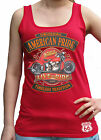 American Pride Live Ride Biker Harley USA Route 66 Womens Soft-Style Red Vest