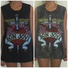 Ladies Low Cut Bon Jovi Vest Tank-Tops Singlets (Dress T-Shirts) Free Size