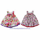NEW Girls Cotton Dress Floral Print Dress with Applique Flowers Size 000-6