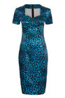 STUNNING BLUE LEOPARD PRINT PENCIL DRESS SIZES 8 10 12 14 NEW VOODOO VIXEN