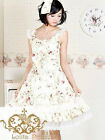 New Pretty women fashion Cute Sleeveless Pure Cotton Beige Lolita Dress