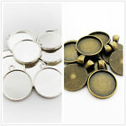 20pcs Antique Bronze/Silver Charm Pendants Cameo Cabochon Base Setting for 20MM