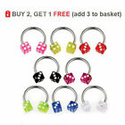 Circular Bar Horseshoe Barbell CBR Nipple Nose Septum 16G Acrylic Coloured DICE