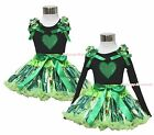 Valentine's Day Green Heart Black Top Anna Coronation Pettiskirt Outfit Set 1-8Y