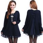 New Fashion Loose Knit Sweater Dresses With Lace Detail For Women Oversize L-4XL