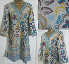 NEW EX WHITE STUFF BEIGE KHAKI BLUE FLORAL SUMMER TUNIC KAFTAN DRESS TOP 8 - 18