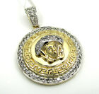 0.98ct Mens 10k Yellow White Real Solid Gold Medusa Head Diamond Pendant
