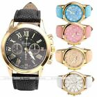 1pc Roman Numeral Golden Case Quartz Analog Watch Leather Band Girls Casual Gift