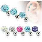 Ferido Crystal Cartilage Upper Ear Stud Earring / Tragus / Helix Bar 3mm 4mm 5mm