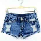 Women Distressed Ripped Frayed Hot Pants Denim Jeans Shorts Low Rise Navy Blue