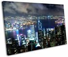 Hong Kong Cityscape Night Framed Canvas Wall Art Picture Print