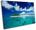 Desert Island Maldives Blue Framed Canvas Wall Art Picture Print