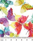 Butterflies Multi Fabric Insects Impressionism Effect Art on White 100% Cotton