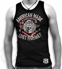 American Made Classic Motor Skull Lost Highway Route 66 Mens Muscle Tank Sm 2XL