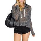 New Fashion Trend Casual Women Long Sleeve Loose Black Hoodie Pullover Sweater