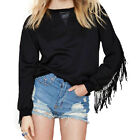 Fashion Women Casual Fringed Long Sleeve Faux Leather Stitching Black Sweater